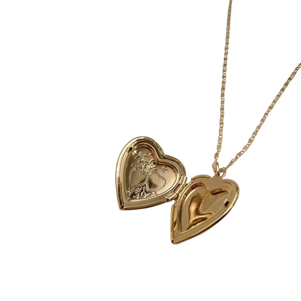 Sparrow Jewelry 18 Inches / Gold Poppy Heart Locket Necklace