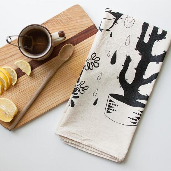 Native Bear dead stock Hearty Plants Tea Towel