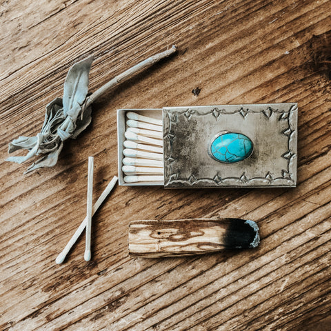 J. Alexander Objects Silver Light My Fire Matchbox- Turquoise