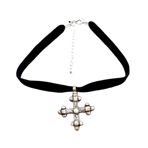 CW collection Jewelry Silver / 12 Inches Gojjam Black Velvet Choker