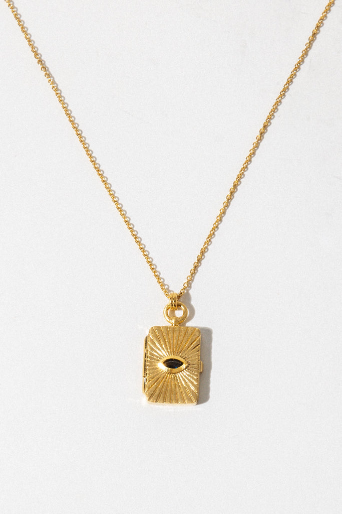 Temple of the Sun Test Gold Meri Locket Necklace