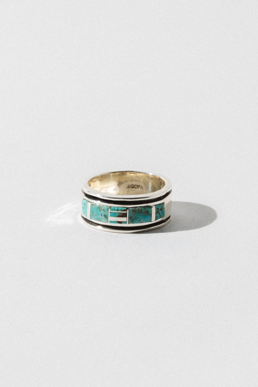 omar Native American Jewelry US 13 / Sterling Silver Mens Tribal Turquoise Ring