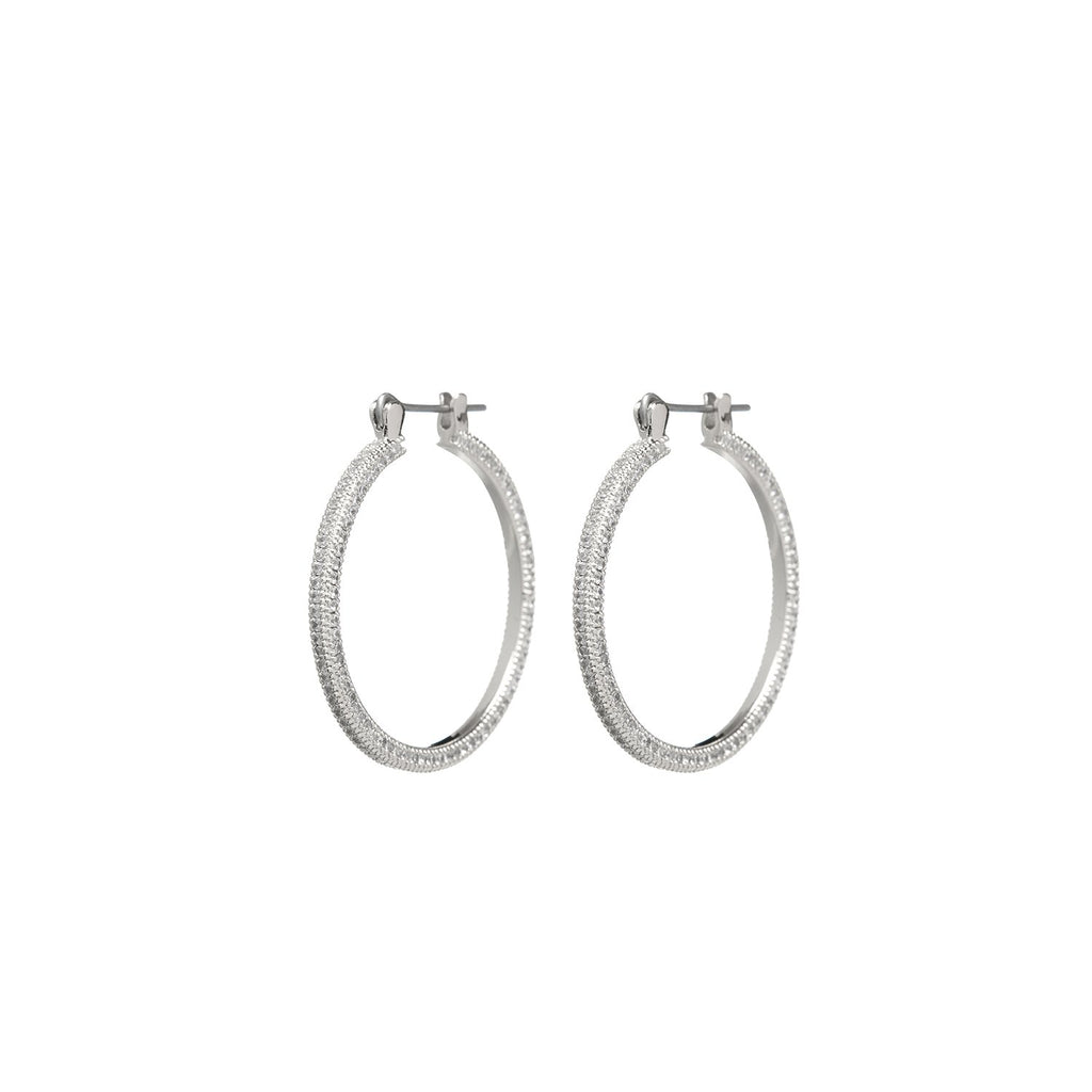 LUV AJ Jewelry Silver Mini Triple Pave Hoops