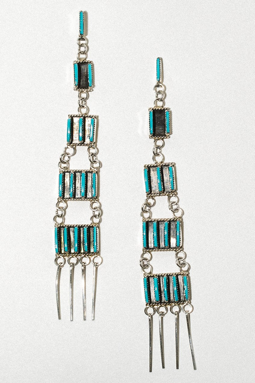 Sunwest Jewelry Silver / Turquoise Zuni Turquoise Statement Earrings