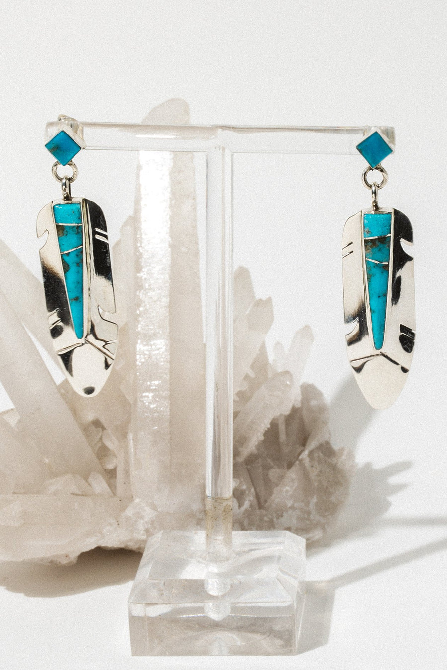 Sunwest Jewelry Silver / Turquoise Eagle Warrior Native American Earrings