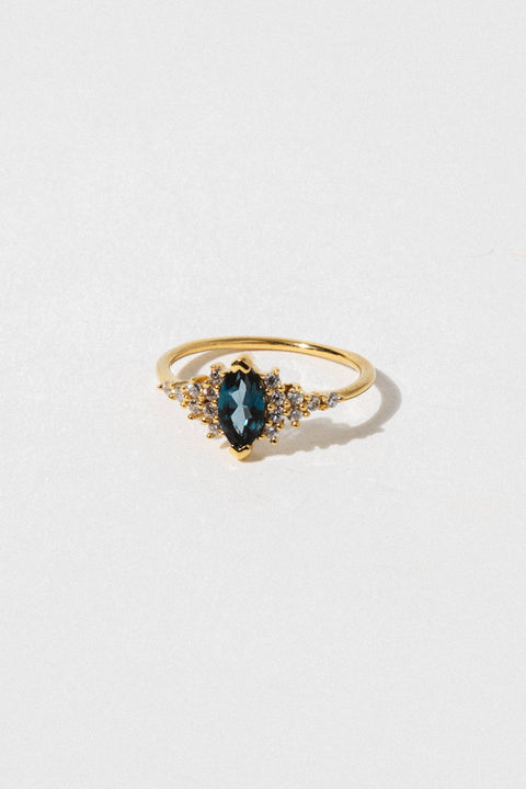LA KAISER Jewelry Blue Topaz + Diamond Calypso Ring