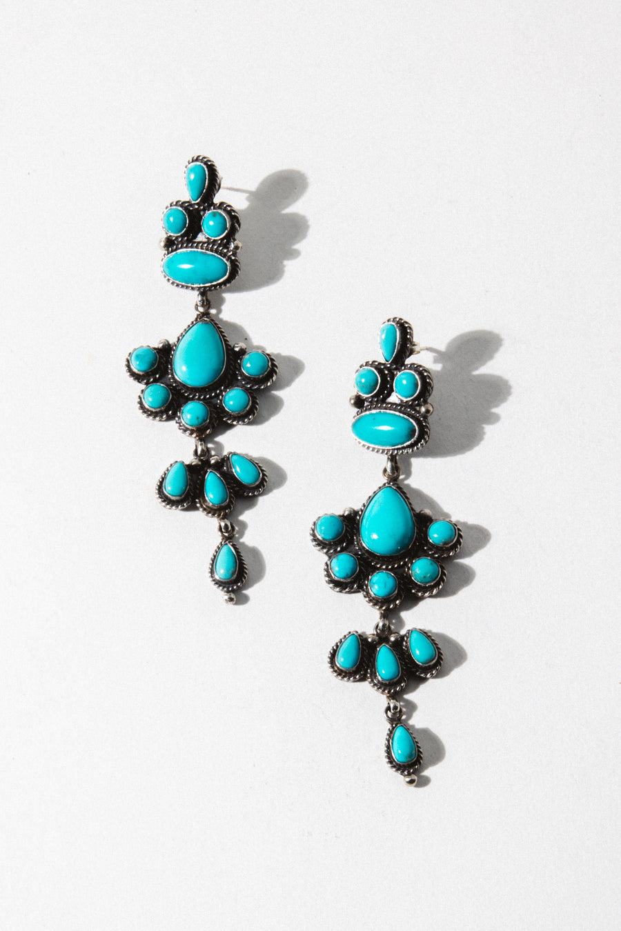 Vintage Native American Jewelry Silver Turquoise Dream Earrings