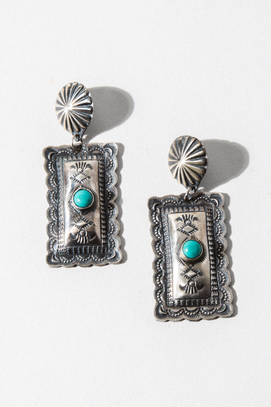 Sunwest Jewelry Turquoise Concho Sunrise Earrings