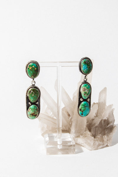 Vintage Native American Jewelry Sterling Silver Lonely Desert Turquoise Earrings