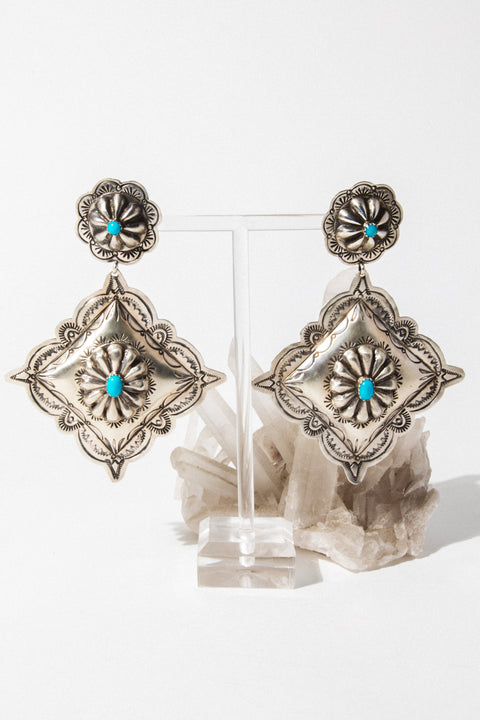 Sunwest Jewelry Turquoise Concho Statement Earrings