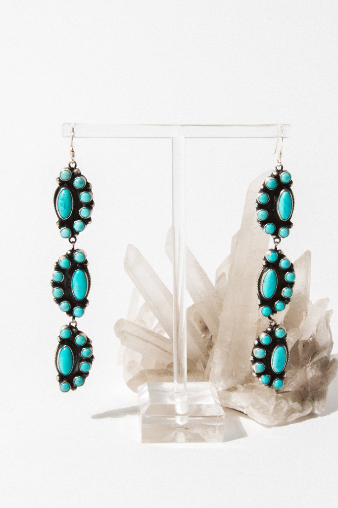 Vintage Native American Jewelry Silver Monroe Turquoise Earrings