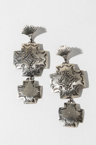 Al Zuni Jewelry Silver Silver Concho Native American Earrings