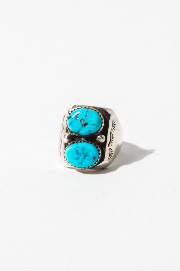 Child of Wild Mens Jewelry US 11 / Silver Concho Turquoise Native American Ring