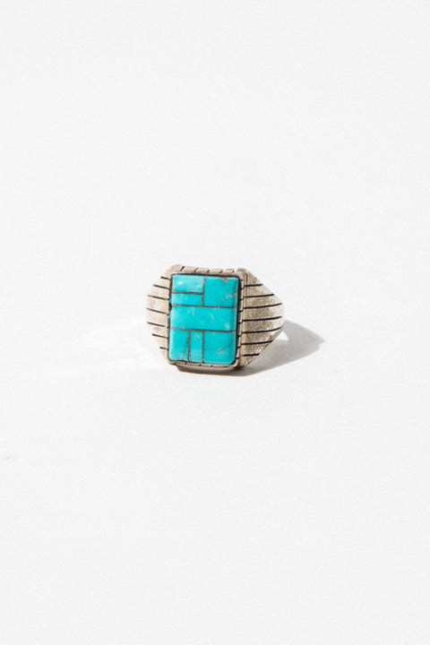 Child of Wild Mens Jewelry US 13 / Silver Vintage Turquoise Inlay Ring