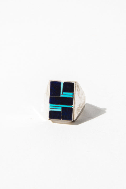 Child of Wild Mens Jewelry US 10.5 / Silver Lapis + Turquoise Ring