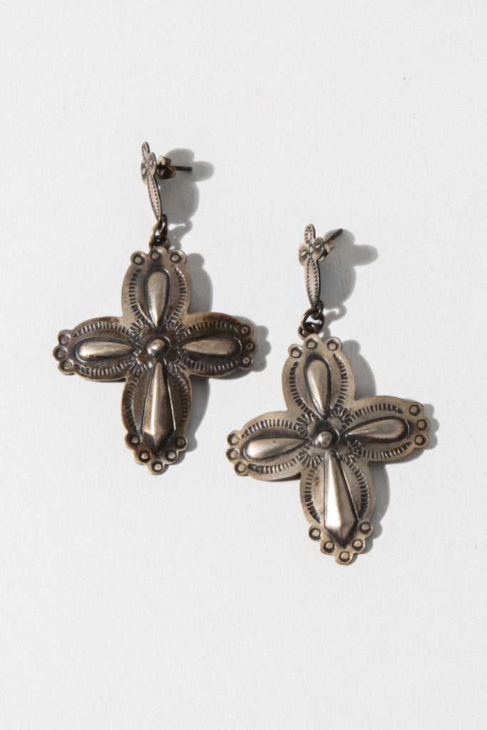 Vintage Native American Jewelry Silver Silver Cross Native American Earrings