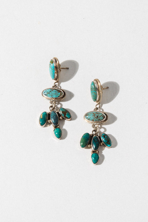 Sunwest Jewelry Silver Turquoise Warrior Earrings