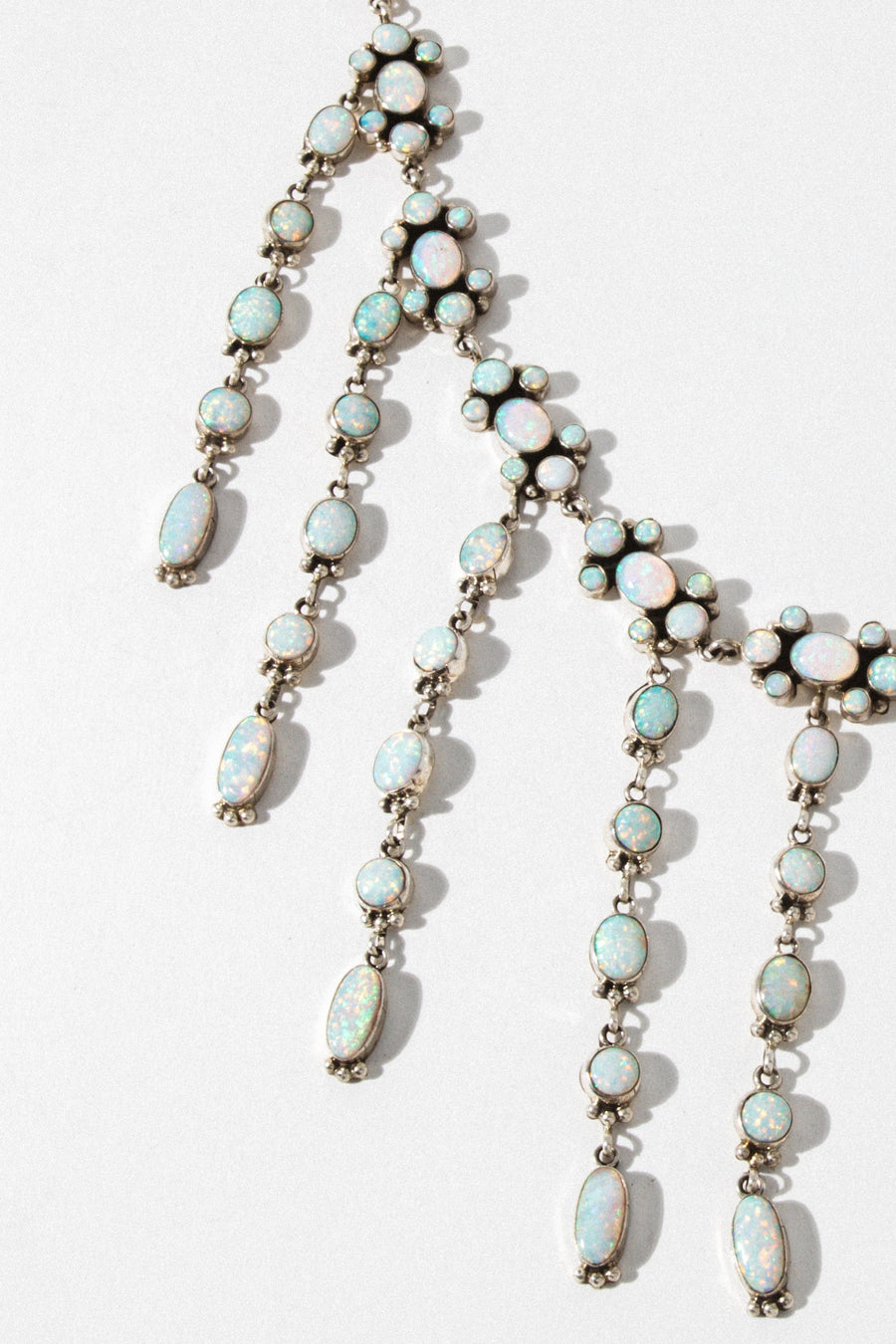 Sunwest Jewelry Silver / 32 Inches Drops of Opal Statement Necklace