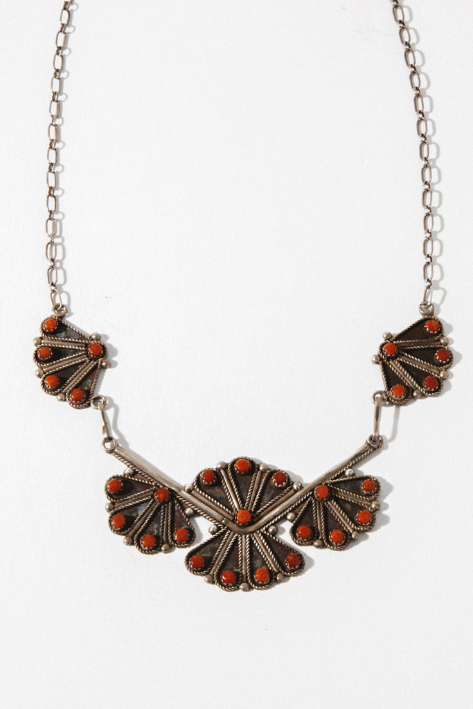 Vintage Native American Jewelry Silver / 22 Inches Coral Vintage Native American Necklace