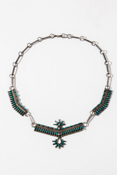 Vintage Native American Jewelry Silver / 16 Inches Turquoise Eagle Vintage Native American Necklace