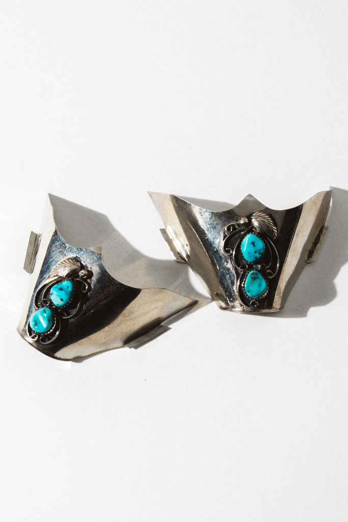 "Vintage Native American Jewelry Sterling Silver ""Vintage"" Navajo Kingsman Turquoise Boot Tips"