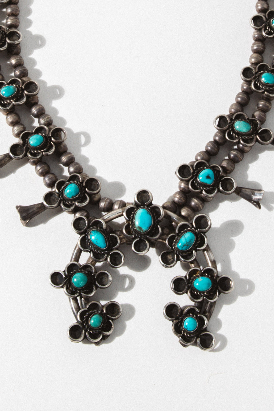 Child of Wild Jewelry Silver / 24 Inches Vintage Kingman Turquoise Squash Blossom Necklace