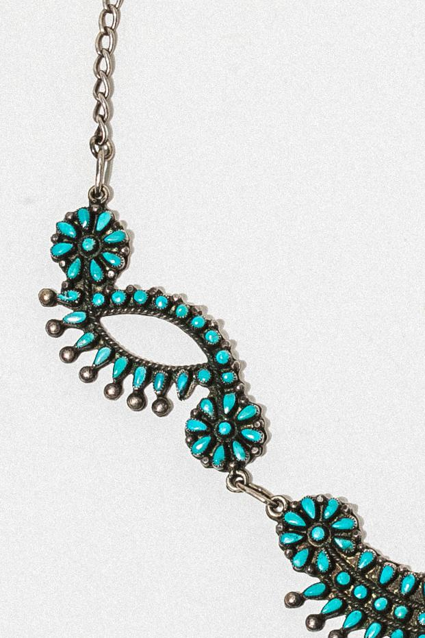 Ayman Jewelry Silver / 16.5 Inches Antique Zuni Turquoise Cluster Necklace