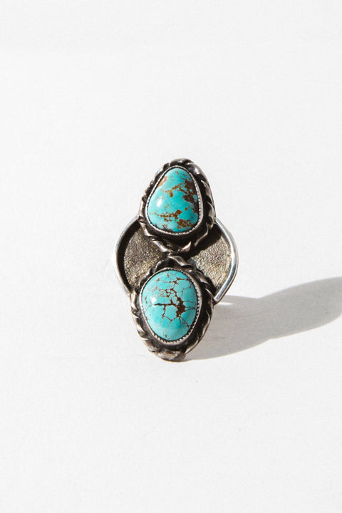 Vintage Native American Jewelry Silver / US 6.5 Diamond Turquoise Native American Ring
