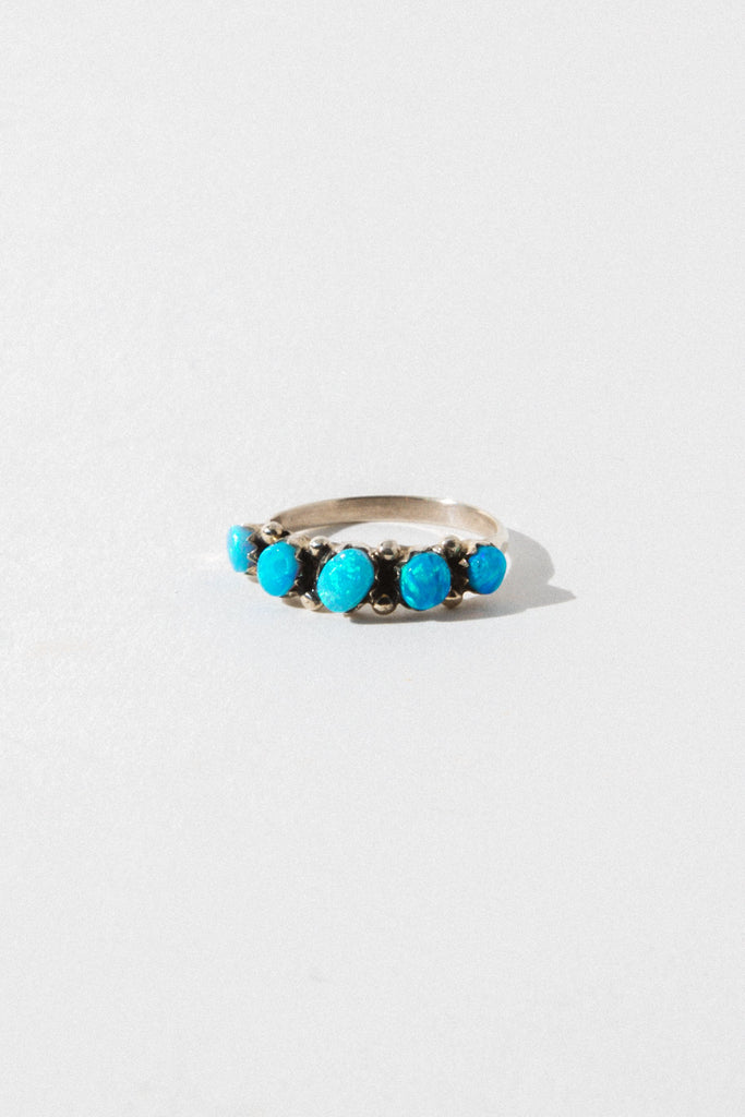 Vintage Native American Jewelry Blue Seeing Opal Ring