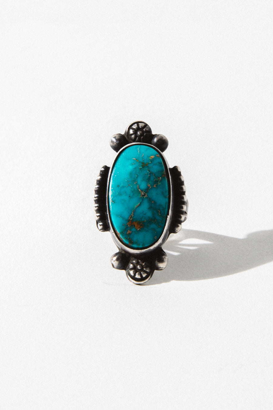 Vintage Native American Jewelry Silver / US 6 Flora Turquoise Native American Ring