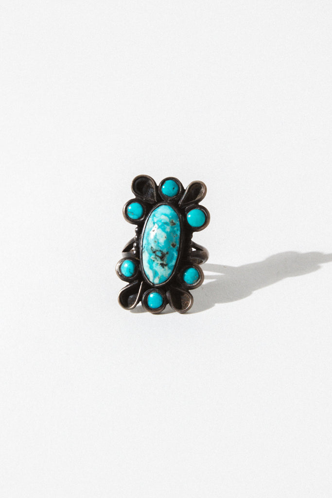 Vintage Native American Jewelry Turquoise / US 5 Morning Dew Vintage Native American Ring