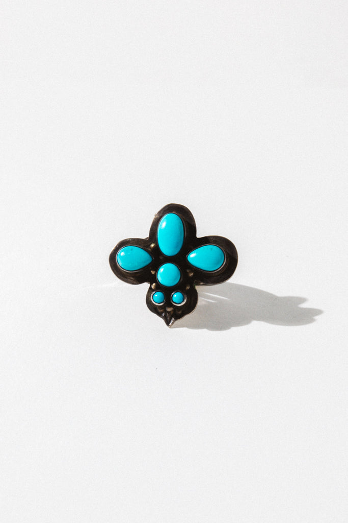 Vintage Native American Jewelry Turquoise / US 9 Celestial Vintage Native American Ring