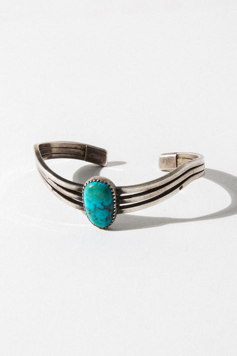 Vintage Native American Jewelry Silver California Dreaming Turquoise Cuff
