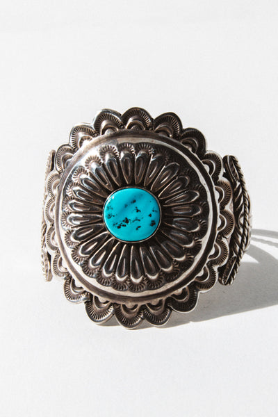Vintage Native American Jewelry Silver Sun Dial Turquoise Cuff