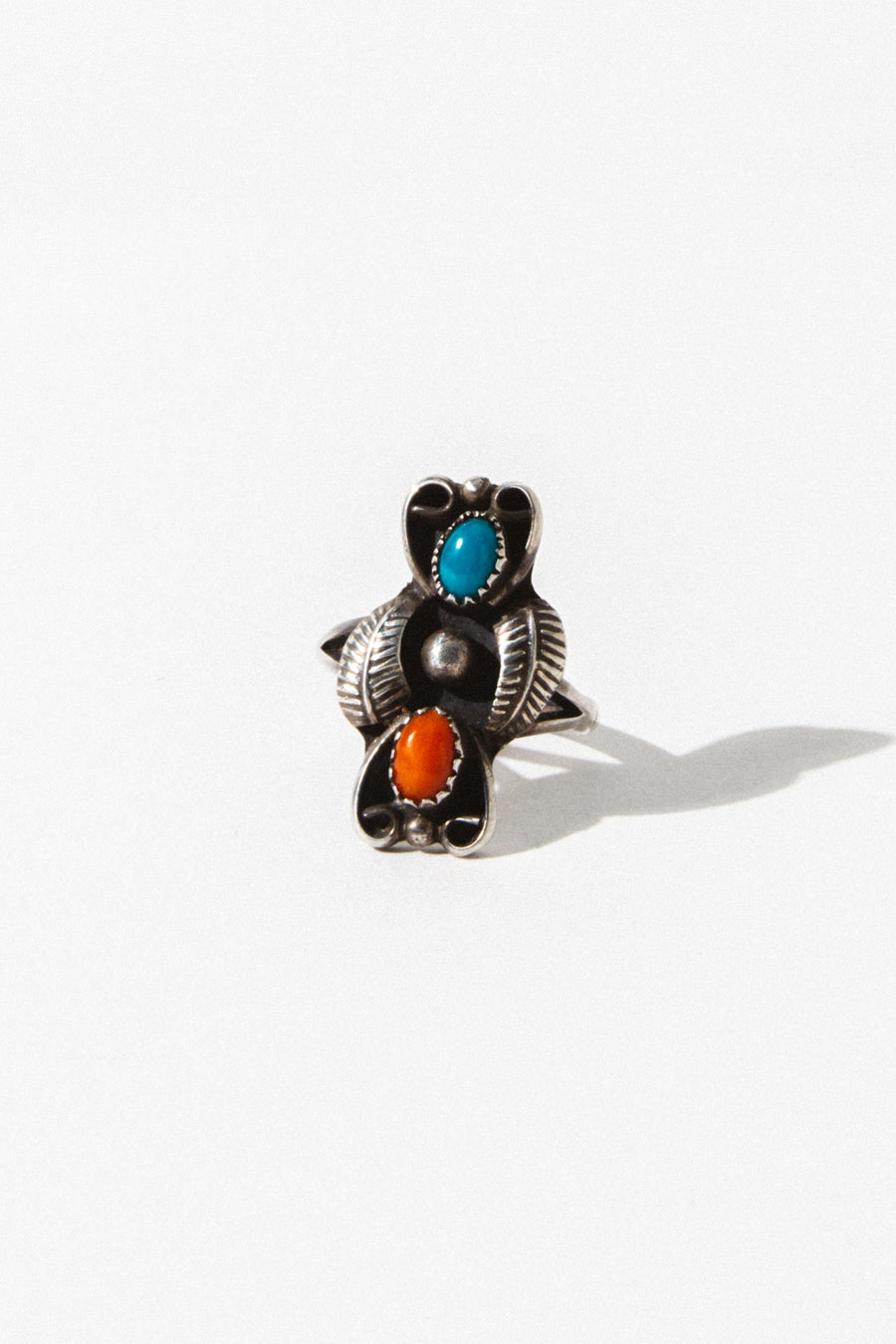 Vintage Native American Jewelry US 7.5 / Silver Rainbow Stone Vintage Ring
