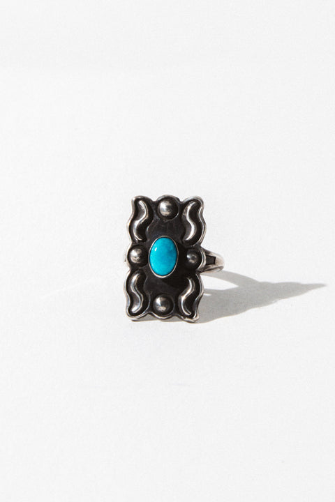 Vintage Native American Jewelry Silver / US 5 Mini Concho Native American Ring