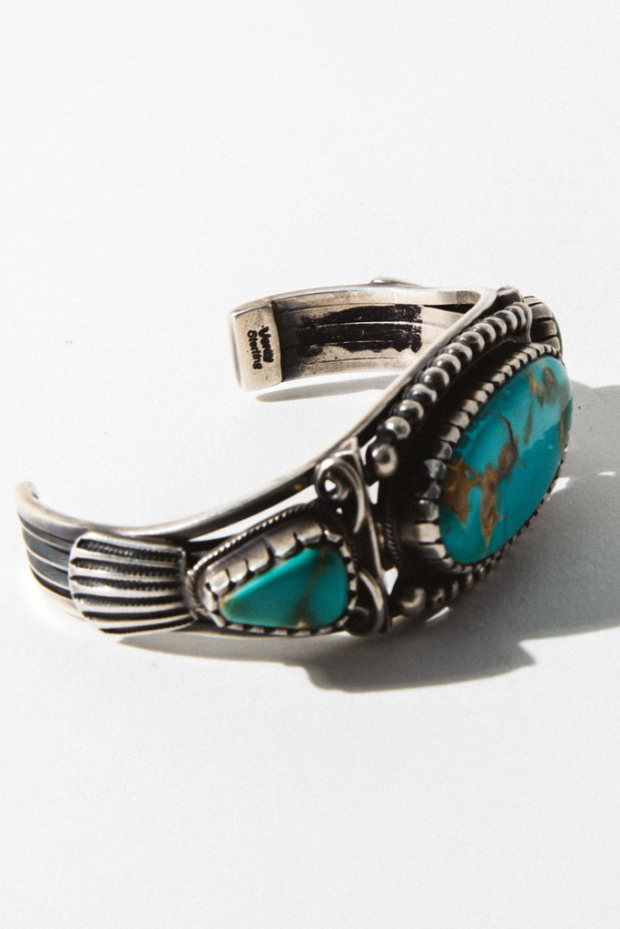 Vintage Native American Jewelry Silver Fallen Star Turquoise Cuff