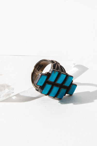 Sunwest Jewelry US 8 / Turquoise Ladder Native American Ring