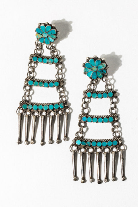 Vintage Native American Jewelry Turquoise Summer Flower Vintage Native American Earrings