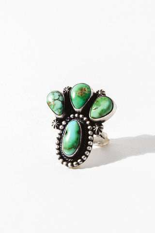 Vintage Native American Jewelry US 7 1/2 / Sterling Silver Cactus Dreams Turquoise Ring