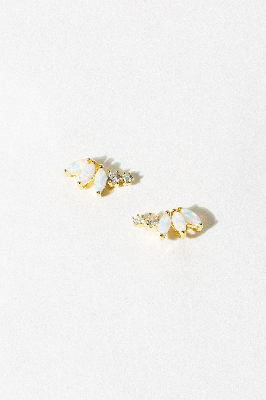 LA KAISER Jewelry Gold / Opal Opal & Diamond Twinkling Lotus Studs