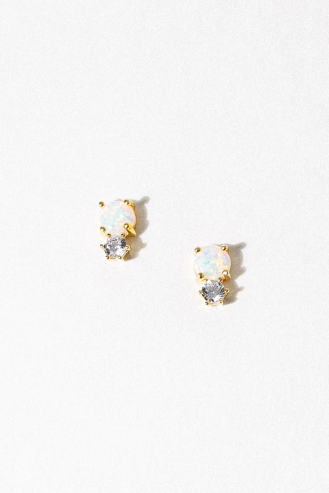 LA KAISER Jewelry Gold Opal and Diamond Doublet Studs