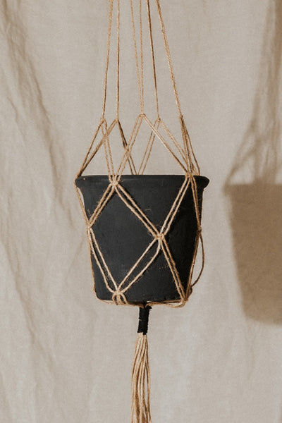Bloomingville Objects Black / FINAL SALE Terra-cotta Planter with Macrame Hanger