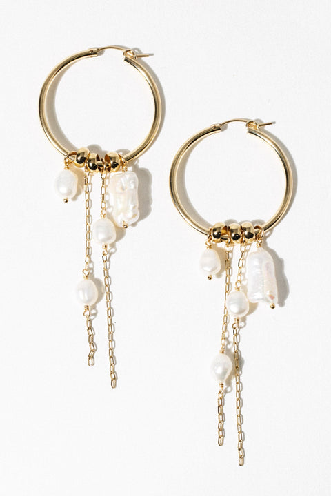 CGM Jewelry Gold Nymph Pearl Earrings