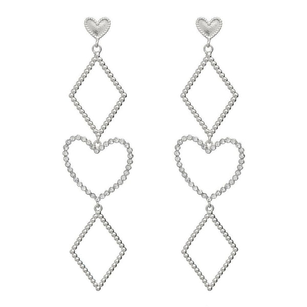 LUV AJ Jewelry Dotted Heart Statement Earrings