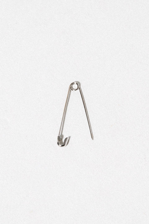 CGM Jewelry White Gold Safety Pin Earring