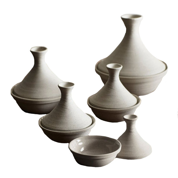 Roost Objects Cream / FINAL SALE Safi Stoneware Tagines Set of 5