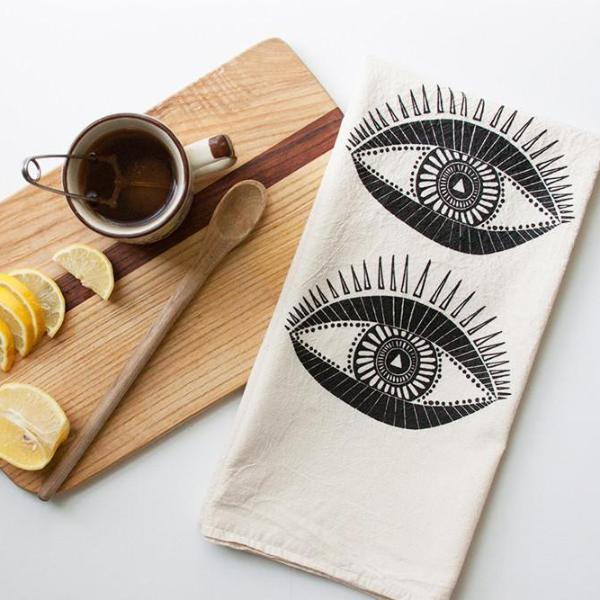 Native Bear Objects Seeing Eye Tea Towel
