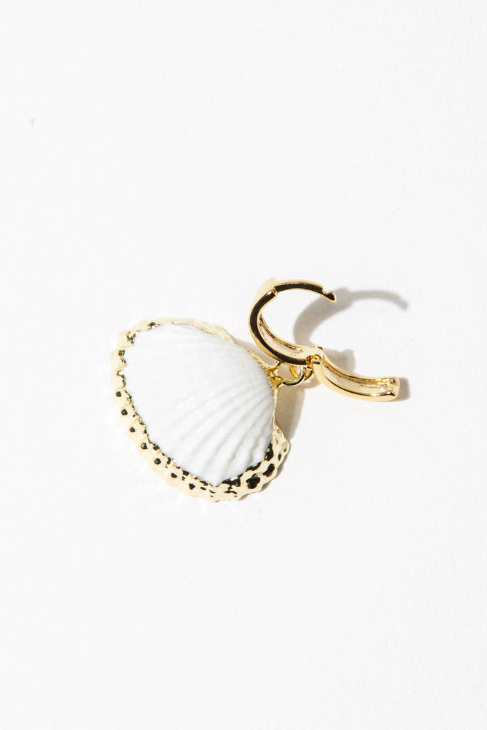 Dona Italia Jewelry Gold White Coquille Earrings