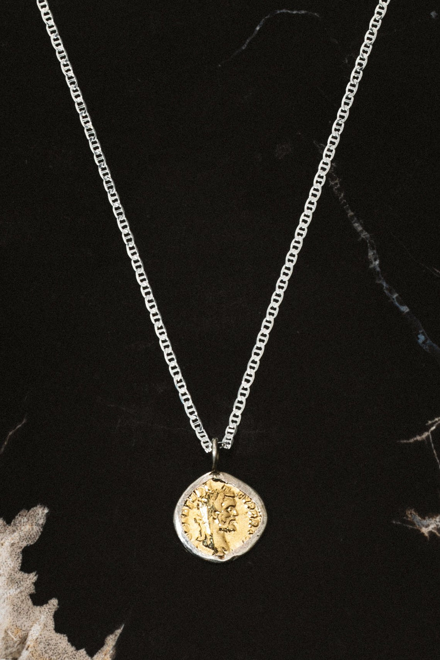 Dona Italia Jewelry Silver / 24 Inches Caesar Coin Necklace